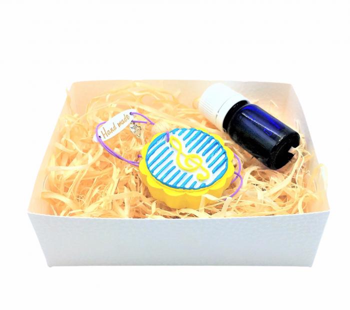 Difuzor din lut aromatizor, handmade, cu ulei esențial inclus - galben cu albastru [0]