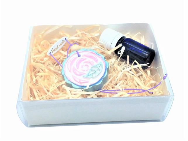 Difuzor din lut aromatizor, handmade, cu ulei esențial inclus - albastru cu roz 3