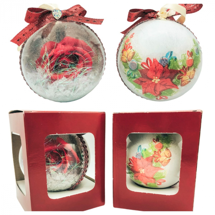 Glob handmade cu trandafir - rosu 2