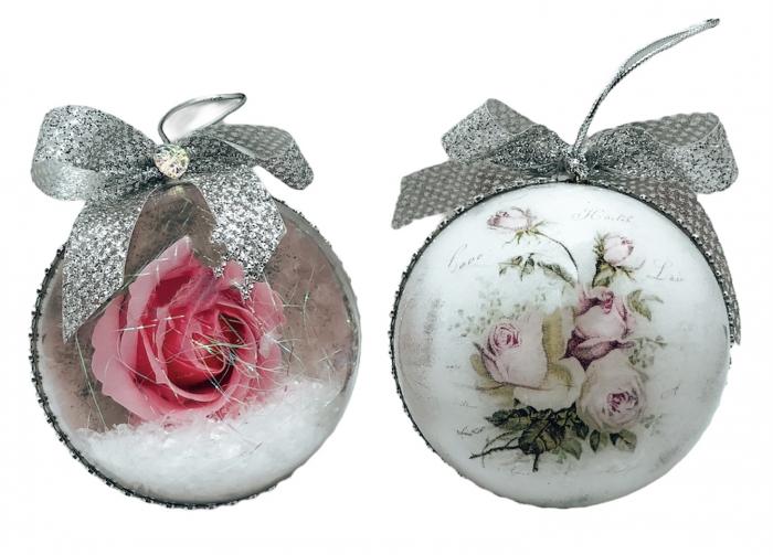 Glob handmade cu trandafir - roz 0