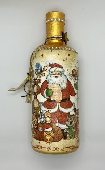 Sticlă decorată manual - Rudolf & Santa 2