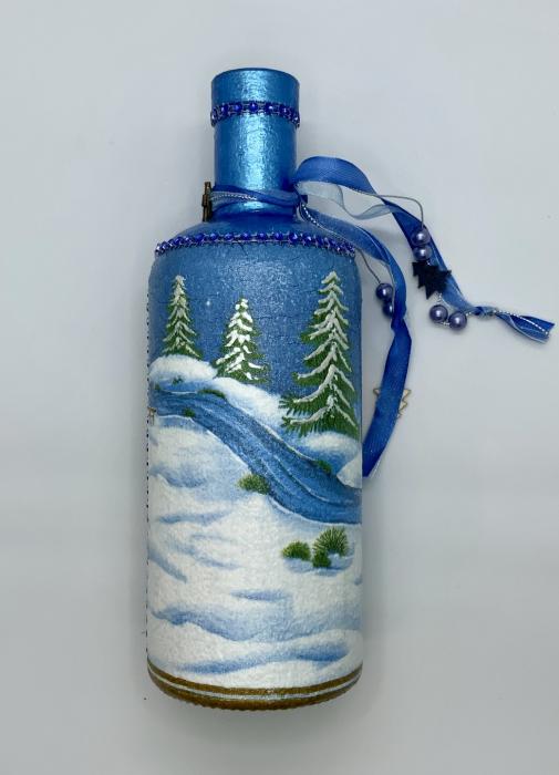 Sticlă decorată manual - Blue 4