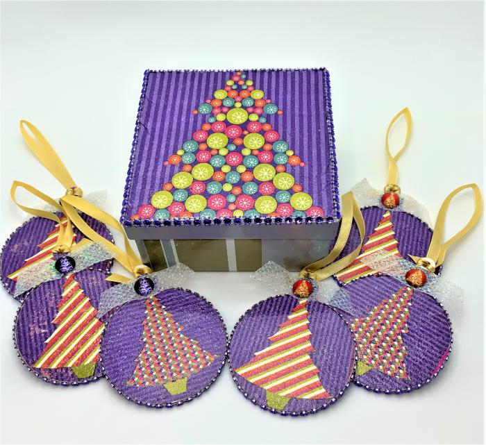 Set globuri PURPLE CHRISTMAS TREE handmade 1