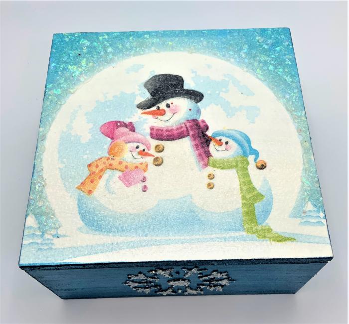 Set decorațiuni WOODEN BOX - Blue  handmade 4
