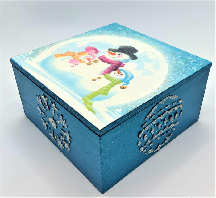 Set decorațiuni WOODEN BOX - Blue  handmade 3