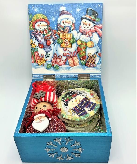 Set decorațiuni WOODEN BOX - Blue  handmade 2