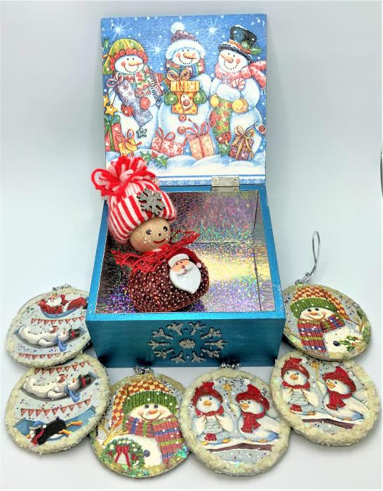 Set decorațiuni WOODEN BOX - Blue  handmade 1