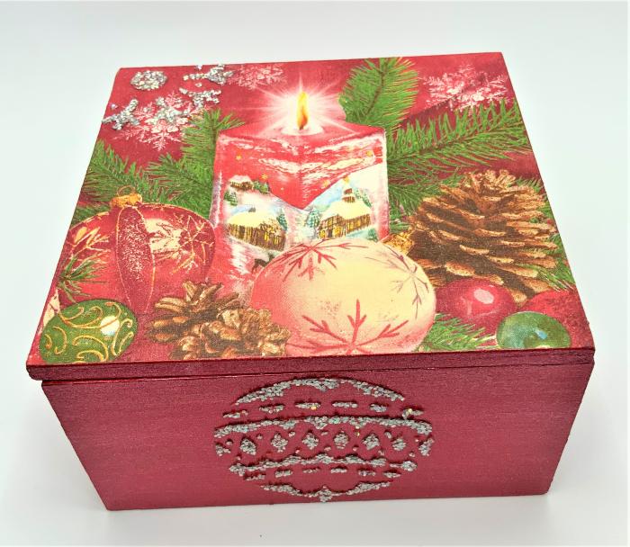 Set decorațiuni WOODEN BOX - Red handmade [4]