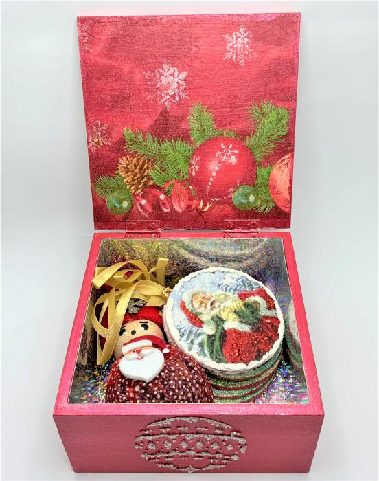 Set decorațiuni WOODEN BOX - Red handmade [2]