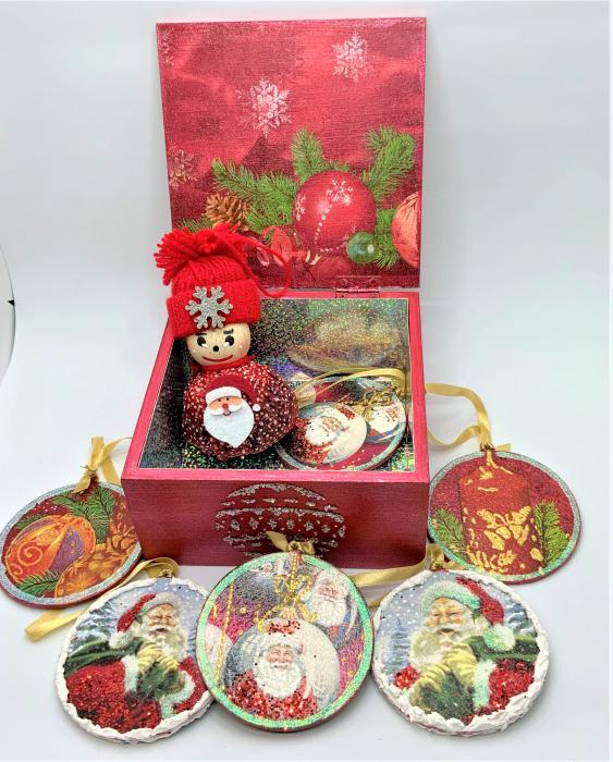 Set decorațiuni WOODEN BOX - Red handmade [1]