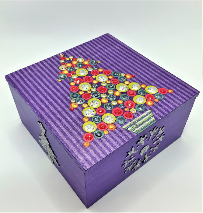 Set decorațiuni WOODEN BOX - Purple  handmade 3