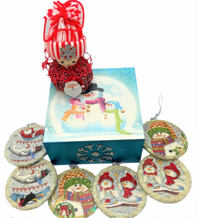 Set decorațiuni WOODEN BOX - Blue  handmade 0