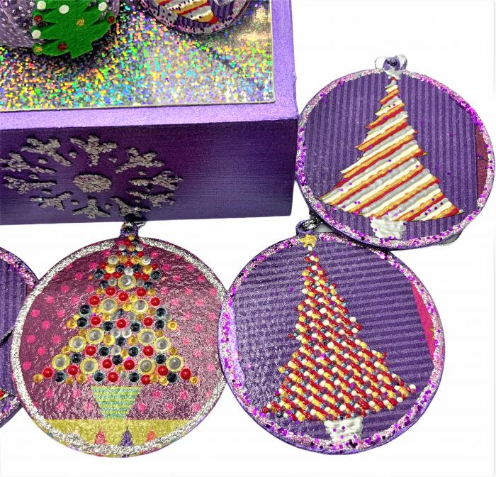 Set decorațiuni WOODEN BOX - Purple  handmade 4