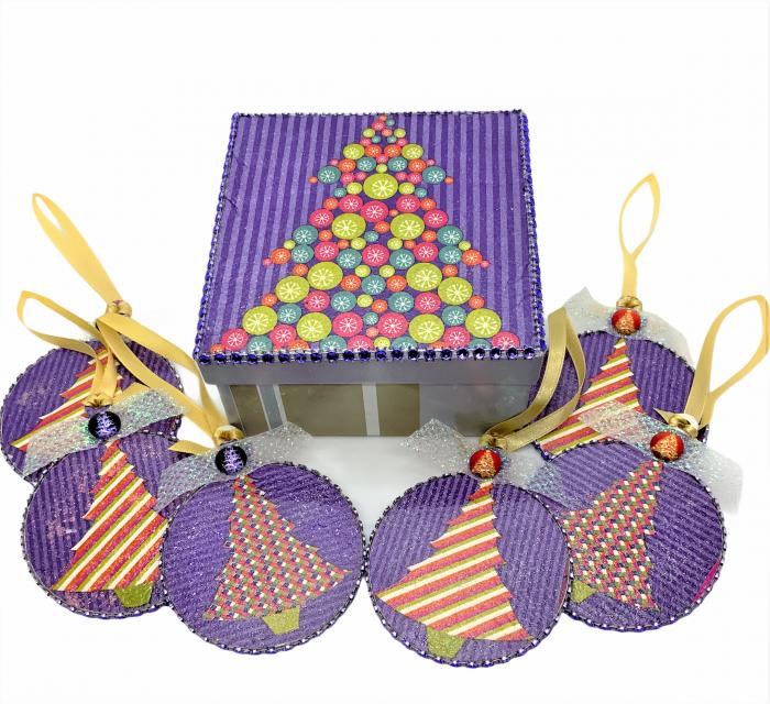 Set globuri PURPLE CHRISTMAS TREE handmade [0]