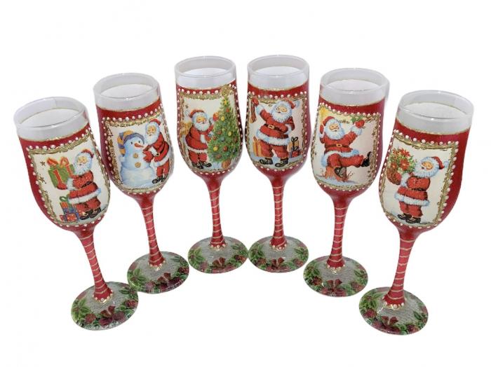 Set sticlă șampanie cu 6 pahare în cutie, decorate manual 4