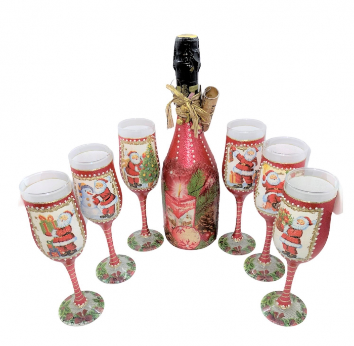 Set sticlă șampanie cu 6 pahare în cutie, decorate manual 0