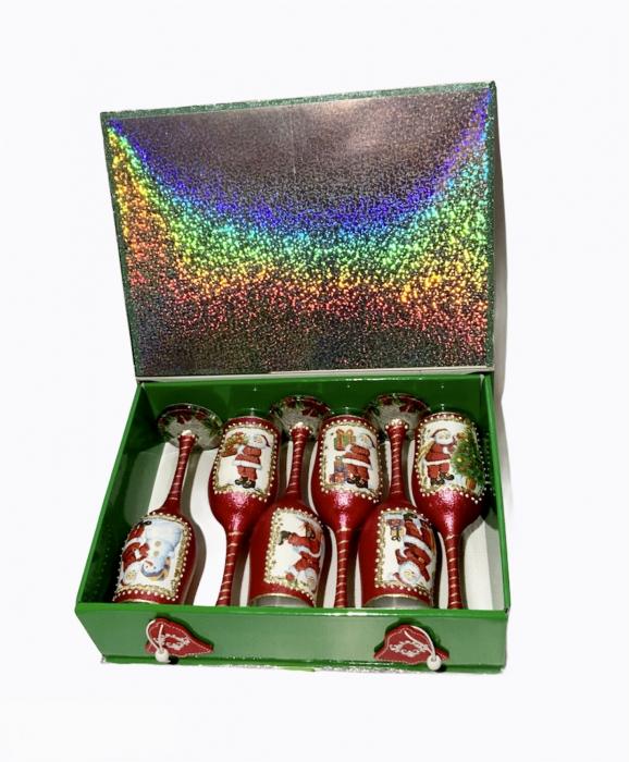 Set sticlă șampanie cu 6 pahare în cutie, decorate manual 3