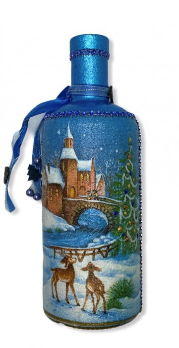 Sticlă decorată manual - Blue 0