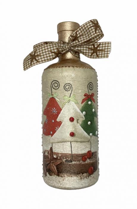 Sticlă decorată manual - Christmas Trees 1