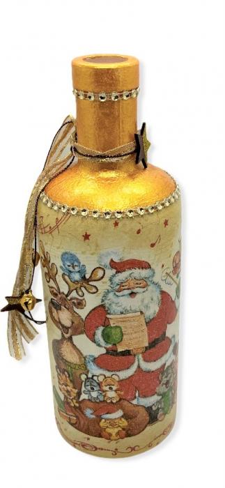 Sticlă decorată manual - Rudolf & Santa 0