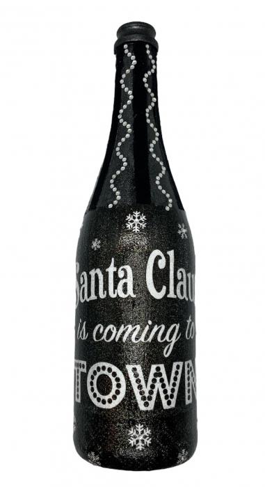 Sticlă decorată manual - Santa is coming 0