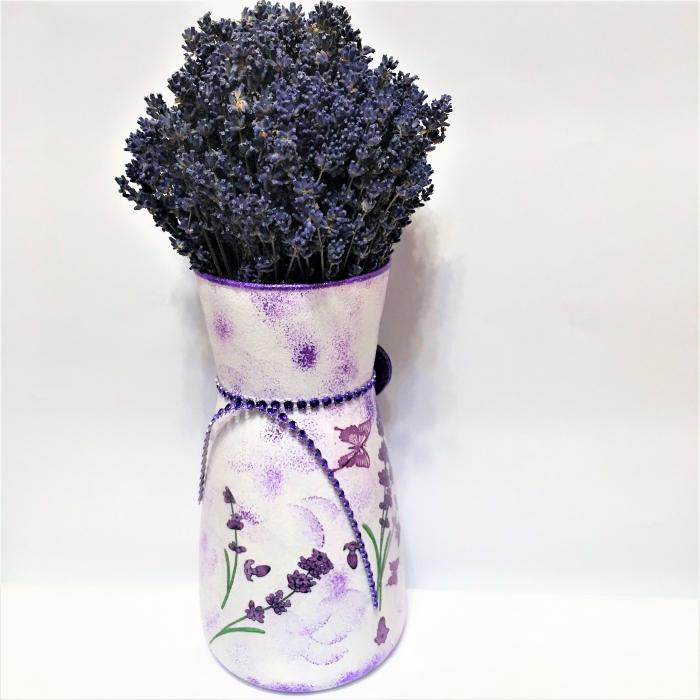 Aranjament cu lavandă naturală în vază handmade 1