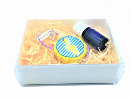 Difuzor din lut aromatizor, handmade, cu ulei esențial inclus - galben cu albastru [3]