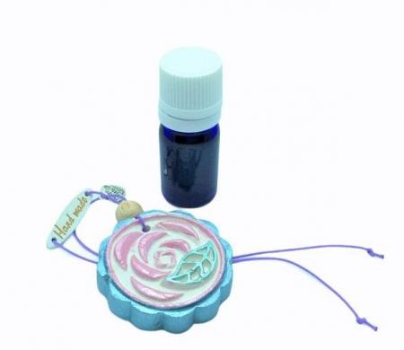 Difuzor din lut aromatizor, handmade, cu ulei esențial inclus - albastru cu roz1