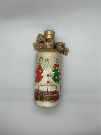 Sticlă decorată manual - Christmas Trees5