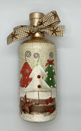 Sticlă decorată manual - Christmas Trees4