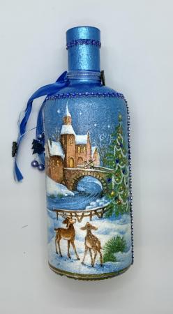Sticlă decorată manual - Blue3