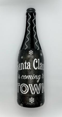 Sticlă decorată manual - Santa is coming1