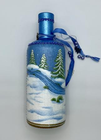 Sticlă decorată manual - Blue4