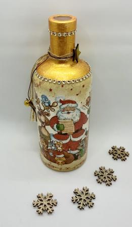 Sticlă decorată manual - Rudolf & Santa4