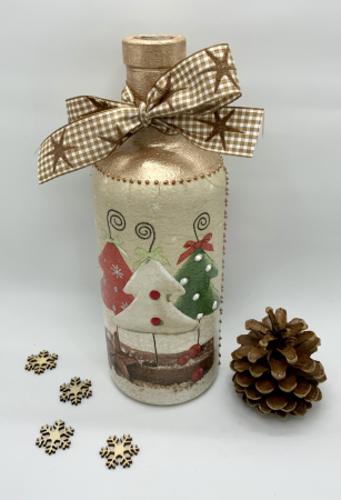 Sticlă decorată manual - Christmas Trees6