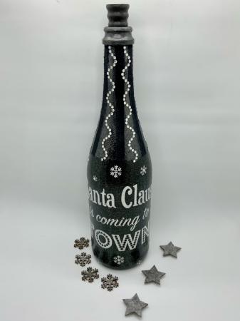 Sticlă decorată manual - Santa is coming5