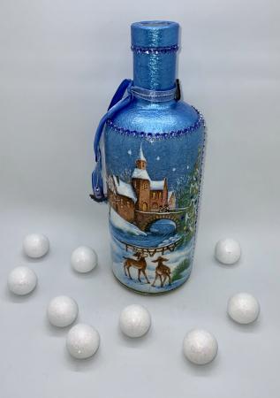 Sticlă decorată manual - Blue5