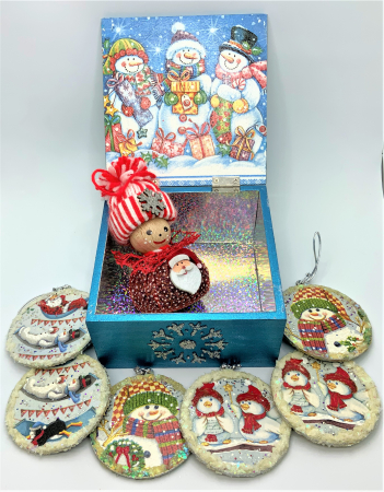 Set decorațiuni WOODEN BOX - Blue  handmade1