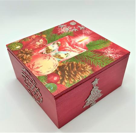 Set decorațiuni WOODEN BOX - Red handmade [3]