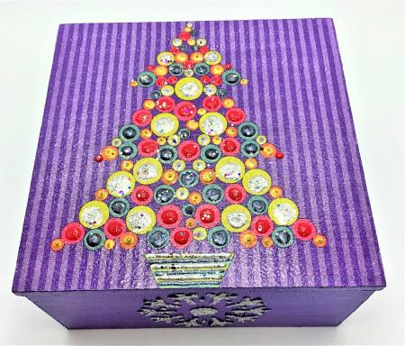 Set decorațiuni WOODEN BOX - Purple  handmade2
