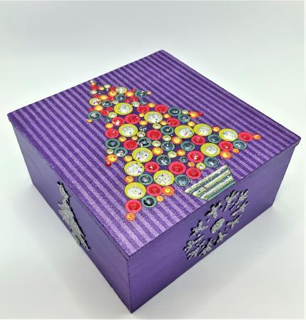 Set decorațiuni WOODEN BOX - Purple  handmade3