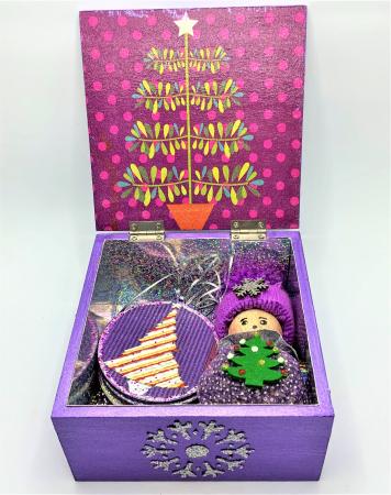 Set decorațiuni WOODEN BOX - Purple  handmade1