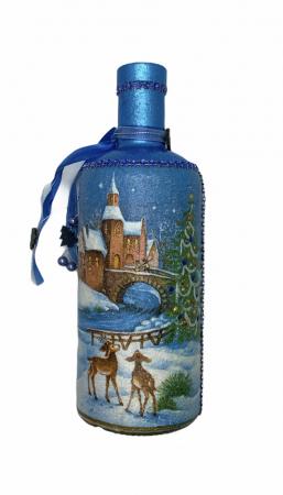 Sticlă decorată manual - Blue2