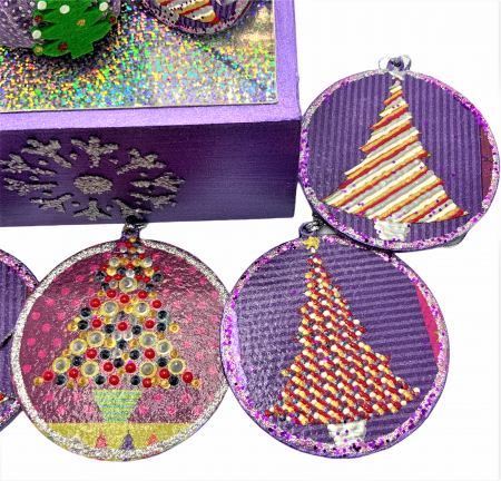 Set decorațiuni WOODEN BOX - Purple  handmade4