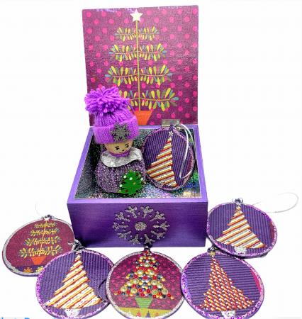 Set decorațiuni WOODEN BOX - Purple  handmade0