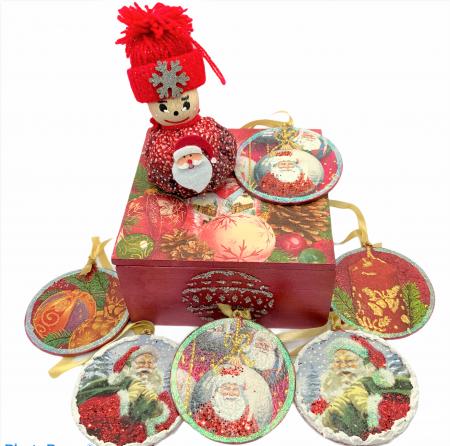 Set decorațiuni WOODEN BOX - Red handmade [0]