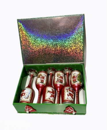 Set sticlă șampanie cu 6 pahare în cutie, decorate manual3