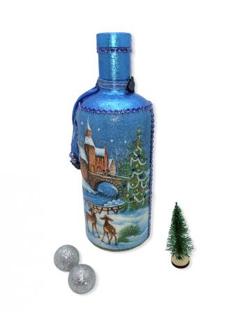 Sticlă decorată manual - Blue6