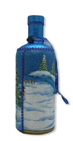 Sticlă decorată manual - Blue1
