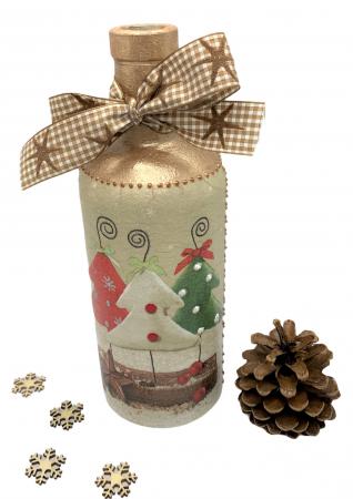 Sticlă decorată manual - Christmas Trees2